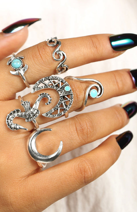 Cute Boho Ring Set for Teens Unique Turquoise Seahorse Moon Waves Beach Chunky Large Gypsy Rings in Silver - www.MyBodiArt.com #rings