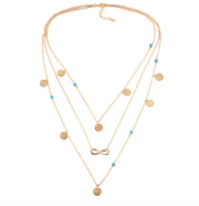 Winona Boho Turquoise Layered Gold Necklace - Infinity & Medallion Coins at MyBodiArt.com