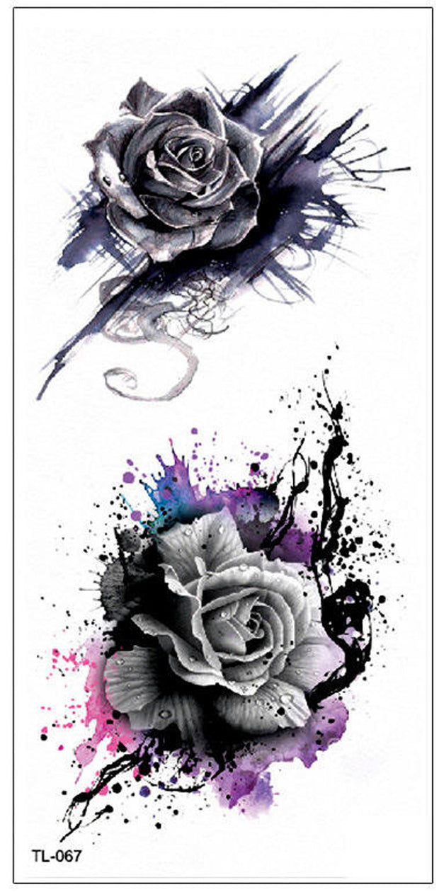 Cool Watercolor Splat Black Rose Temporary Tattoo Ideas Traditional Vintage Floral Flower Tat Ideas for Women  - www.MyBodiArt.com #tattoos
