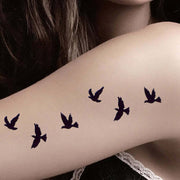 Cute Small Bird Sparrow Black Arm Sleeve Temporary Tattoo ideas for Women - www.MyBodiArt.com
