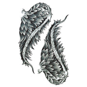 Cassiel Feminine Black and White Angel Wing Temporary Tattoo - www.MyBodiArt.com
