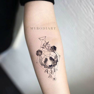 Small Panda Forearm Tattoo Ideas for Women - Black Geometric Feminine Asian Traditional Spirit Animal Arm Tat - www.MyBodiArt.com #tattoos