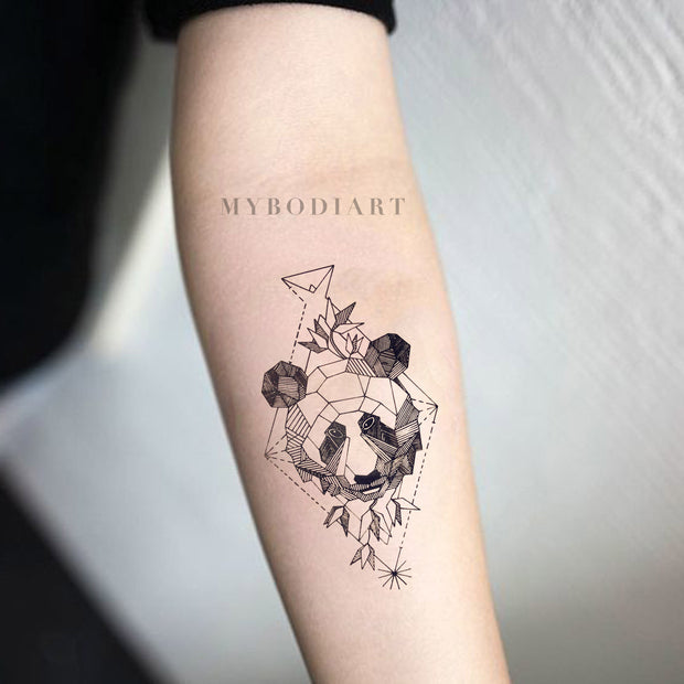 Small Panda Forearm Tattoo Ideas for Women - Black Geometric Feminine Asian Traditional Spirit Animal