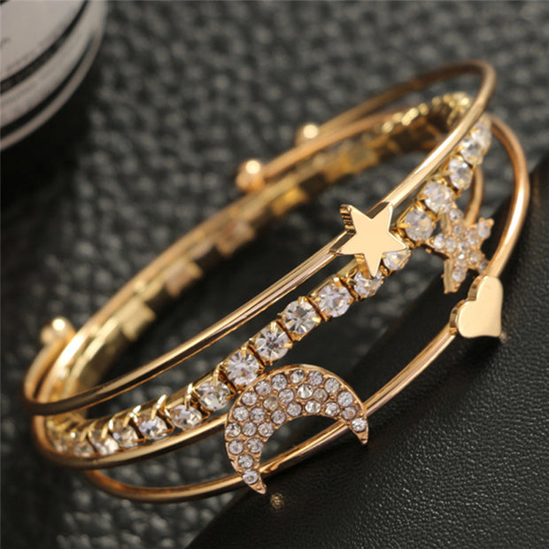 Cute Stacked Simple Crystal Star Moon Bangle Bracelet Summer 4 Pieces Set Brazalete Gold -  www.MyBodiArt.com