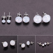 Opal Stud Earrings in Silver Fashion Jewelry - www.MyBodiArt.com  #earrings