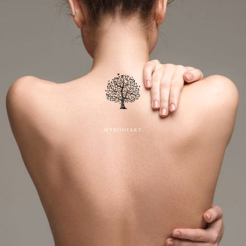 Cute Small Nature Tree Back Temporary Tattoo Ideas for Women - www.MyBodiArt.com