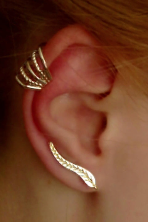 Ava Leaf Ear Climber at MyBodiArt.com - Multiple Ear Piercing Ideas - Helix Piercing Jewelry
