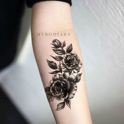 Vintage Rose Forearm Tattoo Ideas for Women - Cool Realistic Black Floral Flower Arm Tat - ideas vintage negro tatuaje de antebrazo para las mujeres - www.MyBodiArt.com #tattoos