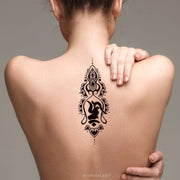 Tribal Hindu Geometric Lotus Mandala Spine Tattoo Ideas - Boho Script Quote Writing Floral Flower Back Tat - www.MyBodiArt.com #tattoos