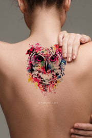 Cool Watercolor Owl Temporary Back Tattoos Ideas for Women -  Acuarela búho tatuaje ideas para mujeres - www.MyBodiArt.com