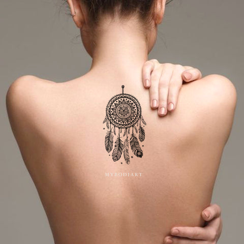 Cool Black Henna Dreamcatcher Back Spine Tattoo Ideas for Women - www.MyBodiArt.com