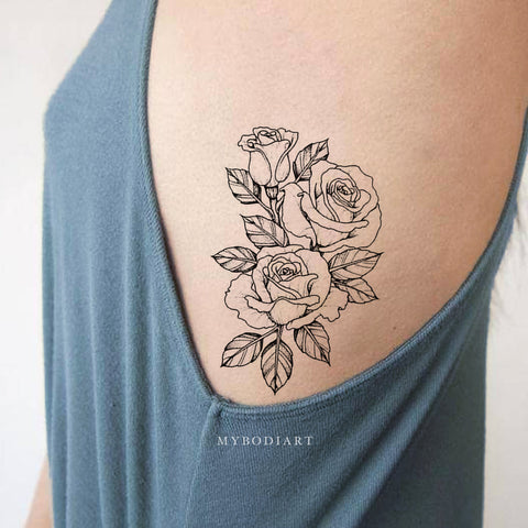 Vintage Black Rose Outline Rib Temporary Tattoo Ideas for Women -  tatuaje de costilla rosa - www.MyBodiArt.com