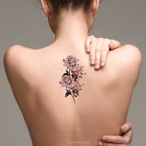 Beautiful Purple Watercolor Floral Flower Back Tattoo Ideas for Women -  ideas de tatuajes de espalda de flores para mujeres - www.MyBodiArt.com #tattoos