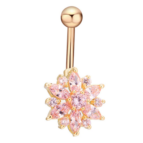 Cute Pink Crystal Flower Belly Button Ring Piercing Stud in Gold - www.MyBodiArt.com