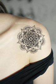 Cool Geometric Black Mandala Shoulder Temporary Tattoo Ideas for Women - www.MyBodiArt.com #tattoos