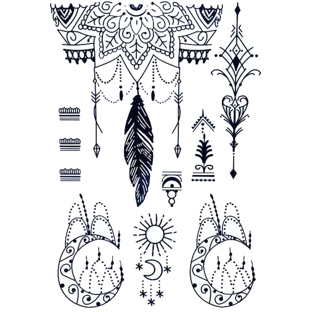 Bohemian Boho Mandala Unalome Lotus Moon Chandelier Black Henna Tribal Temporary Tattoo Art Design Ideas Women's Teens Girls - www.MyBodiArt.com #tattoo