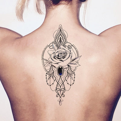 Traditional Rose Chandelier Back Tattoo Ideas for Women - Geometric Flower Spine Tat - volver ideas del tatuaje para las mujeres - www.MyBodiArt.com #tattoo