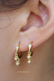 Cute Crystal Star Huggie Hoop Earrings Fashion Jewelry for Women - www.MyBodiArt.com