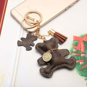 Cute Checkered Double Teddy Bear Keychain with Tassel Keyring Key Fob Fashion Accessories Jewelry Purse Bag Brown - www.MyBodiArt.com