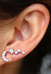 Cute Crystal Star Moon Ear Climber Earrings for Women - www.MyBodiArt.com