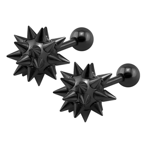 Cute Ear Piercing Ideas for Teenagers - Spikes Spiky Ball Stud Earrings Cartilage Helix Conch Tragus Earlobe -  lindas orejas piercing ideas para las mujeres - www.MyBodiArt.com