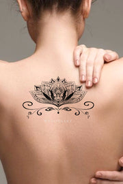 Tribal Black Henna Lotus Floral Back Temporary Tattoo Ideas for Women -  Ideas de tatuajes para mujeres - www.MyBodiArt.com