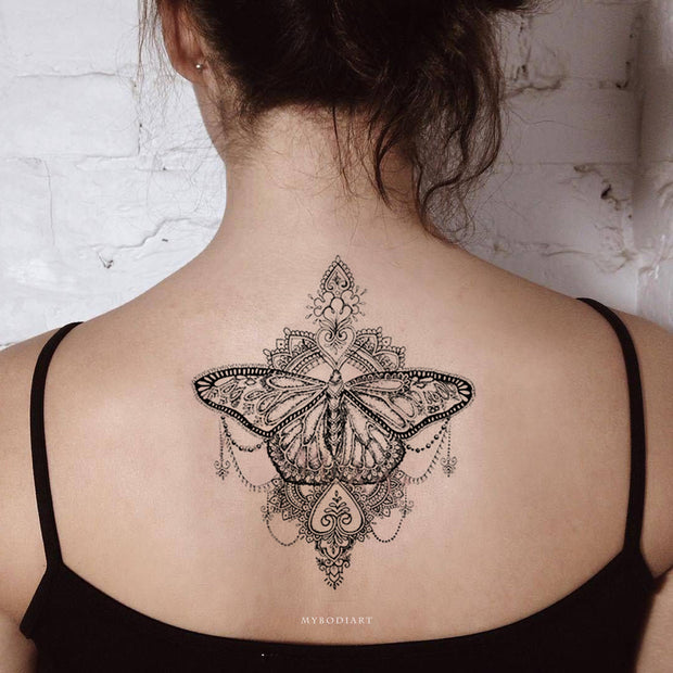 Tribal Boho Black Lace Mandala Butterfly Back Spine Tattoo Ideas for Women -  Ideas de tatuaje de costilla de mariposa para mujeres - www.MyBodiArt.com #tattoos