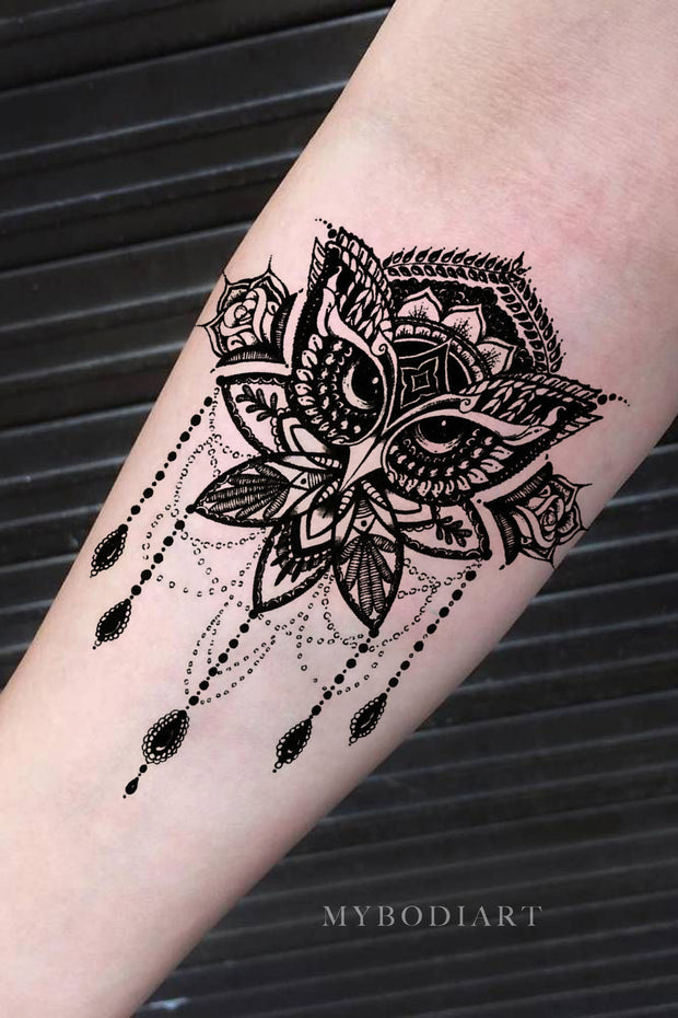 Tribal Boho Mandala Owl Chandelier Black Henna Forearm Temporary Tattoo Ideas for Women - www.MyBodiArt.com