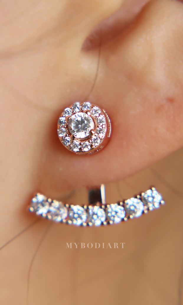 Fancy Classy Ear Piercing Ideas for Women - Halo Crystal Ear Jacket Earring Circle Stud and Bar in Rose Gold - www.MyBodiArt.com