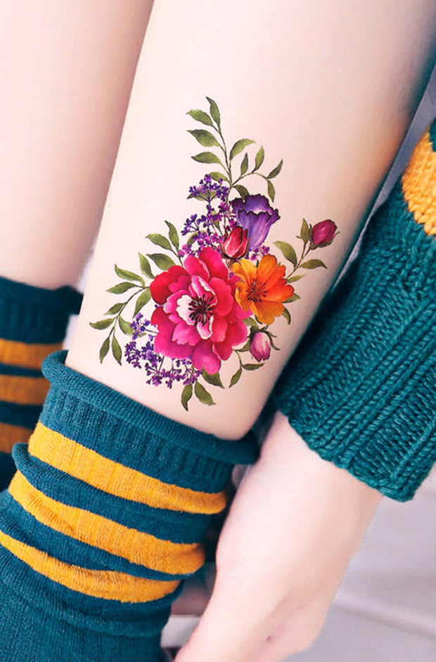 Red Flower Ankle Tattoo Ideas for Women - Beautiful Floral Tat  - www.MyBodiArt.com #tattoos