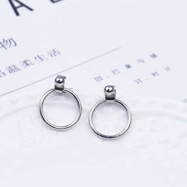 Minimal Ring Ear Piercing Ideas - Simple Minimalistic Hoop Ring Circle Modern Ear Jacket Earrings -  simple aro aretes chaqueta - www.MyBodiArt.com
