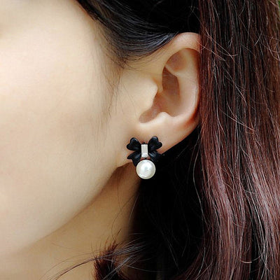 Fancy Classy Ear Piercing Ideas for Teens - Cute Elegant Pearl Bow Knot Tie Drop Stud Earrings for Women -  pendientes de perlas de fantasía con nudo de lazo de gota de perla - www.MyBodiArt.com
