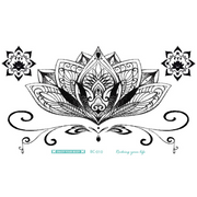 Boho Tribal Mandala Lotus Chandelier Sternum Temporary Tattoo Ideas for Women -  Ideas de tatuajes de loto para mujeres - www.MyBodiArt.com