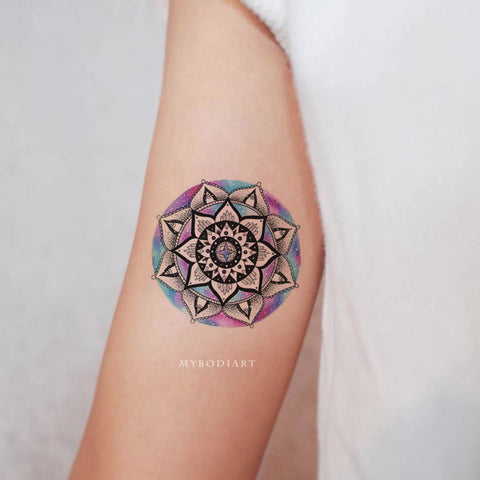Cute Watercolor Black Mandala Bicep Arm Tattoo Ideas for Women -  ideas de tatuajes de antebrazo mandala - www.MyBodiArt.com #tattoos