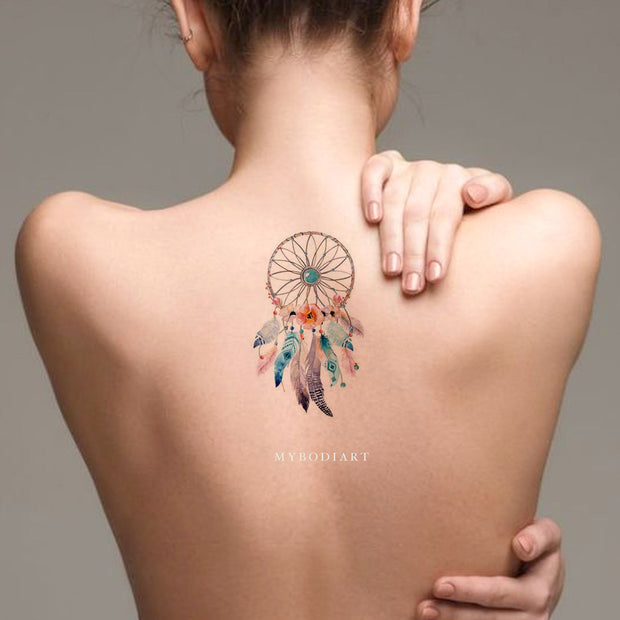 Cute Watercolor Dreamcatcher Back Tattoo Ideas for Women -  atrapasueños tatuaje de espalda- www.MyBodiArt.com