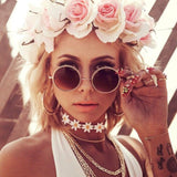 Boho Summer Coachella Rave Festival Fashion Outfit 2017 - Flower Crown - Daisy Embroidered Flower Floral Choker Necklace at MyBodiArt.com