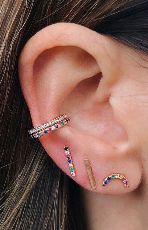 Cute Multiple Ear Piercing Ideas for Teens Feminine Rainbow Conch Earring Cuff Studs with Colorful Crystals  - lindo arco iris piercing oreja ideas para mujeres - www.MyBodiArt.com