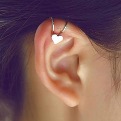 Cute Simple Heart Cartilage Ear Piercing Ideas - Ear Cuff Clip Earrings for Cartilage Helix Ear Lobe in Star, Heart, Crystal, Cross Design in Gold or Silver - lindas orejas piercing ideas para las mujeres - www.MyBodiArt.com