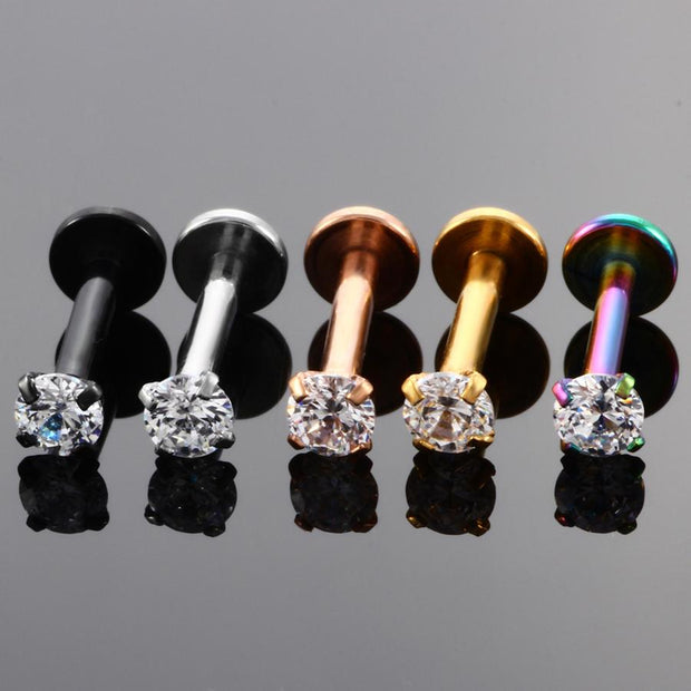 Swarovski Crystal Ear Piercing Jewelry Ideas for Labret Stud, Cartilage Earring, Helix, Conch, Tragus in Silver Gold Rose Gold Black 16G - www.MyBodiArt.com