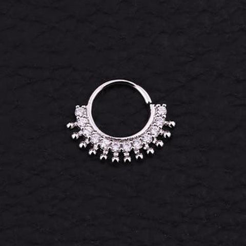 Cute Dainty Crystal Afghan Fan Tribal Ball for Cartilage Conch Daith Helix Ear Piercing Septum Ring Jewelry 16G - www.MyBodiArt.com