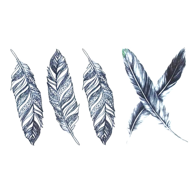 Small Cute Black Feather Temporary Tattoo Sheet Ideas for Women - www.MyBodiArt.com