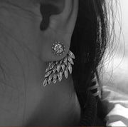 Angel Feathers Wings Silver Womens Earrings Ear Jacket - MyBodiArt.com
