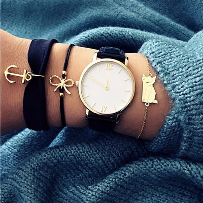 Cute Chunky Gold Bracelet Set Layered Stacked Anchor Bow Watch Fashion Jewelry for Women For Teens - www.MyBodiArt.com #bracelets