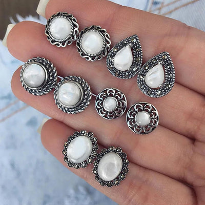 Cute Vintage Large Pearl Earring Studs Set Traditional Antique Old Fashioned Victorian Classy White Acrylic Earrings - www.MyBodiArt.com #earrings