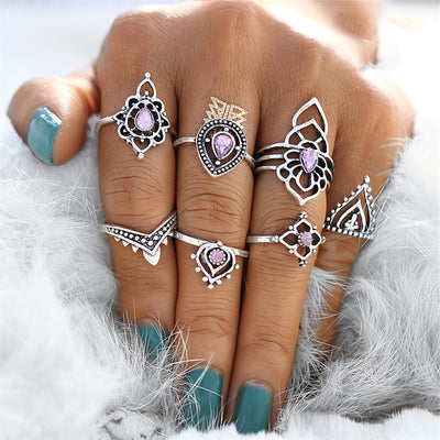 Unique Boho Rings Set Purple Crystal Tribal Vintage Antiqued Silver Stackable Gypsy Hippie Ring - anillo bohemio para mujer - www.MyBodiArt.com #rings