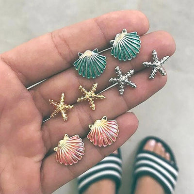 Cute Boho Seashell Starfish Earring Studs Set for Women for Teen Girls Ocean Sea Earrings - www.MyBodiArt.com #earrings