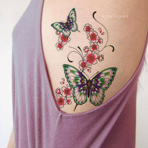 Cute Watercolor Butterfly Floral Flower Rib Temporary Tattoo Ideas for Women -  Ideas de tatuaje de costilla de mariposa para mujeres - www.MyBodiArt.com