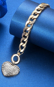 Cute Crystal Heart Chunky Large Chain Toggle Bracelet - Fashion Jewelry in Gold or Silver or Rose Gold - www.MyBodiArt.com