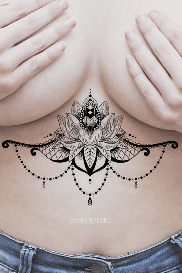 Unique Cool Tribal Boho Chandelier Lotus Mandala Sternum Temporary Tattoo Ideas at MyBodiArt.com - www.MyBodiArt.com