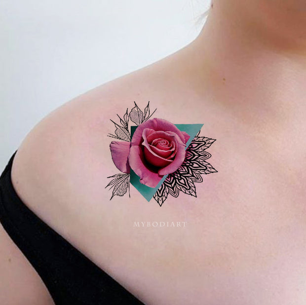 Unique Watercolor Pink Rose Tattoo Ideas on Shoulder - Traditional Geometric Mandala Triangle Tat for Women - ideas de acuarela Rosa Rosa tatuaje en el hombro para las mujeres - www.MyBodiArt.com #tattoos
